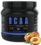 GYM - NUTRITION BCAA + VITAMIN B6 Hochdosiert | Aminosäuren Pulver BCAAs | Leucin | Isoleucin | Valin 2:1:1 Aminosäure | Deutsche Premium Qualität | Vegan | Sensations Amino Geschmack Ice Tea Peach