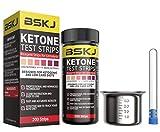 BSKJ Keton-Teststreifen für Ketose mit 200 Karat Monitor, präzise Urin-Ketostreifen für ketogene Diät, Gewichtsverlust und Diabetiker, mit Edelstahl-Urinbecher und Reagenzglas-Aufbewahrungsflasche