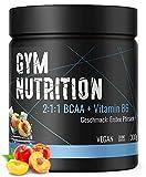 BCAA + Vitamin B6 hochdosiertes Pulver - Leucin, Isoleucin, Valin 2:1:1 - in deutscher premium Qualität - Vegan - Geschmack ICE-PEACH