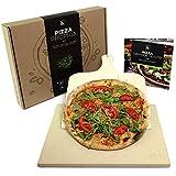 #benehacks® Pizza Propria Pizzastein 1,5cm für Backofen & Grill - 30 x 38 x 1,5 cm - Set zum Backen inkl. Pizza-Rezeptbuch & Pizzaschaufel & Geschenkverpackung