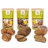 Lizza Low Carb Brot-Mix 3x 250g Backmischungen in 3 Varianten   Bis zu 89% weniger Kohlenhydrate   100% Bio, Glutenfrei & Vegan   Keto   Protein- & Ballaststoffreich   3x 250g   2 Wochen Vorrat