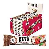 KETO On The Go Riegel | Schokolade Erdbeere | 20er Box | Nur 1g Zucker pro Riegel | Bekannt aus 2 Minuten 2 Millionen