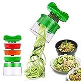 Rissen Spiralschneider Hand für Gemüsespaghetti, 3-Klingen Gemüse Spiralschneider, Gemüsehobel für Karotte, Gurke, Kartoffel,Kürbis, Zucchini, Zwiebel
