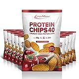 IronMaxx Protein Chips 40 - Paprika Geschmack - 10er Pack / 10x 50g - High Protein, Low Carb, glutenfrei - fettarm und zuckerreduziert - 20g Protein pro Tüte - Designed in Germany